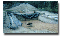 The pool is laid out and excavated