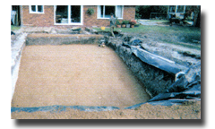 The bottom of the pool is covered in 75mm of 50mm clean gravel